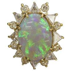 Classic Natural Australian Black Opal Diamond Sunburst Halo 18K Gold Ring