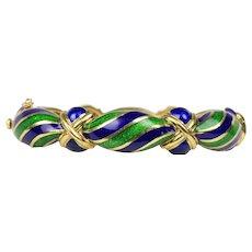 Vintage Tiffany & Co Blue and Green Enamel Swirl 18K Gold Chunky Bangle Bracelet