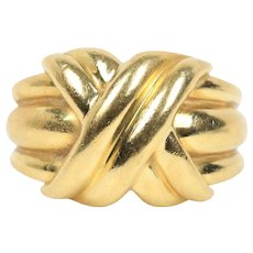 "Vintage Tiffany & Co ""X"" 18K Gold Size 4.25 Ring Band"