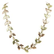 Vintage Tiffany & Co 14K Gold Leaf Motif Necklace Choker