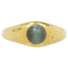 Antique Tiffany & Co Hand Hammered 18K Gold Cats Eye Ring