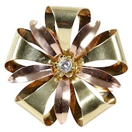 Midcentury Tiffany and Co 14K Gold and Diamond Bow Brooch Pin