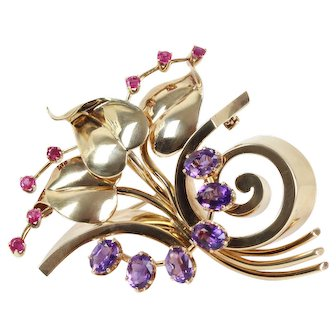 Retro Tiffany & Co Amethyst and Ruby 14K Gold Floral Brooch Pendant