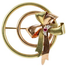 Vintage Tiffany & Co 14K Gold Ruby and Diamond Retro Circle Ribbon Brooch Pin