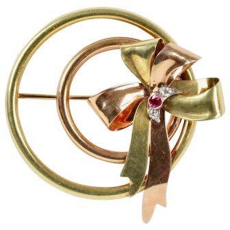 Vintage Tiffany & Co 14K Gold Ruby and Diamond Retro Circle Ribbon Brooch Pin