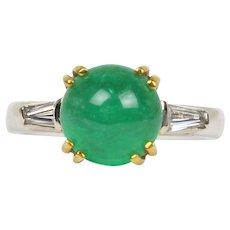 Tiffany & Co 2.5 Carat Emerald Cabochon and Diamond Platinum Ring