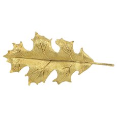 Vintage Tiffany & Co 18K Gold Oak Leaf Brooch Pin