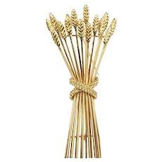 Vintage Tiffany & Co 18K Gold Bundle of Wheat Brooch Pin