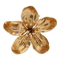 Vintage Tiffany & Co Dogwood Flower 14K Gold Brooch Clip
