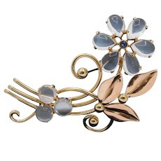Vintage 1940s Tiffany & Co Moonstone and Sapphire 14K Gold Flower Brooch