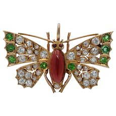 Victorian 2.8 Carat Diamond, Demantoid, and Garnet 18K Gold Butterfly Brooch Pendant