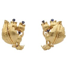 Vintage Tiffany & Co 18K Gold and Sapphire Tulip Bouquet Clip Earrings