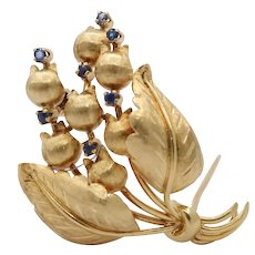 Vintage Tiffany & Co 18K Gold and Sapphire Tulip Bouquet Brooch Pin