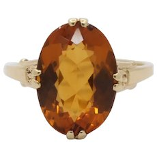 Vintage Tiffany & Co Madeira Citrine 14K Gold Solitaire Ring