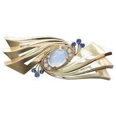Retro Tiffany & Co Moonstone Sapphire and Diamond 14K Gold Abstract Brooch