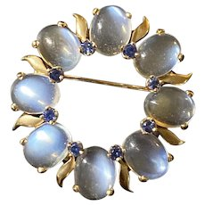 Vintage Tiffany & Co Moonstone and Sapphire 14K Gold Circle Brooch