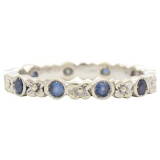 Vintage 18K Gold and Natural Sapphire Floral Eternity Band Stacking Ring