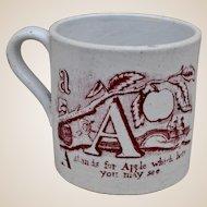A rare mid 19th century pearlware alphabet nursery cup,
