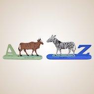 A wonderful fretwork wooden animal alphabet 1930s,