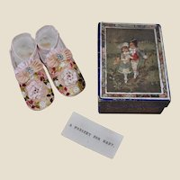 A wonderful pair of baby shoes in original box, circa 1900