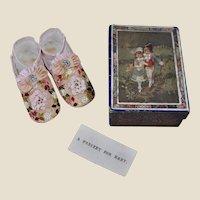 A wonderful pair of baby shoes in original box, circa 1900