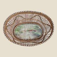 An unusual antique folk art basket with watercolour of locomotive,