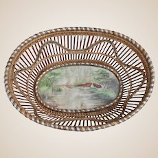 An unusual antique folk art basket with watercolour of locomotive,