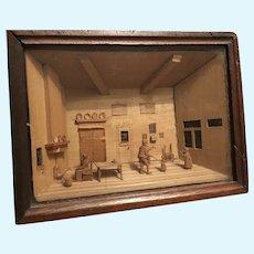 A rare wooden diorama Bavelaar or Bavelaartje Dutch Kitchen circa 1800,