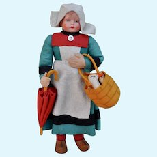 A German felt and celluloid Beccasine doll