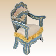 Antique dolls' house pocket watch holder chair, late 19th century