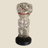 An unusual glass googly-eyed Bonzo type dog perfume bottle, 1930s