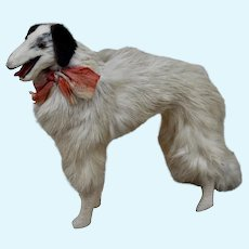 A rare  6 inch fur Borzoi dog for fashionable doll,