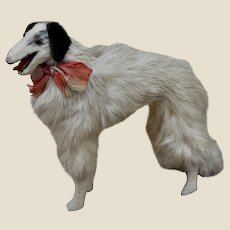 A rare  6 inch fur Borzoi dog for fashionable doll,