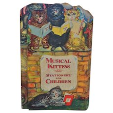 Charming Musical Kitten Stationary for Children set 1930s,