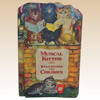 Charming Musical Kitten Stationary for Children set 1930s,