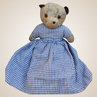 A rare Chad Valley teddy bear and girl topsy turvy doll 1950s,