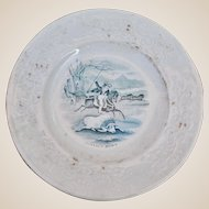 An interesting antique British Staffordshire china child's plate of American Interest 'The Buffalo Hunt',