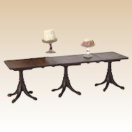 Rare and fine mahogany three-pedestal dining table,