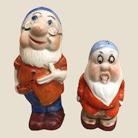 Two Disney Snow White and the seven Dwarves pepper pots 1930s,