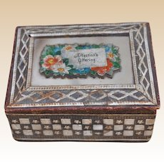 An antique embossed paper, mirror and scrap box, late 19th century