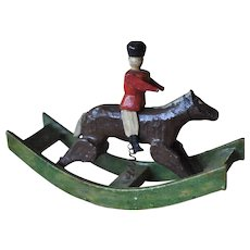 Rare Erzebirge carved wooden miniature rocking horse,