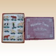 Very rare boxed set of Erzgebirge 'Miniature Animals', circa 1910