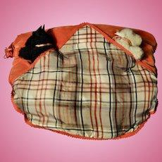 A rare Farnell Alpha Toys black and white Scottie dog tartan pyjamas/nightdress case, 1930s