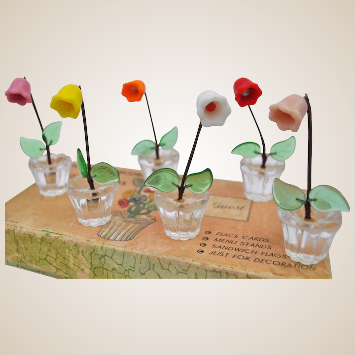 Ruby Lane & A lovely set of vintage glass flower pots place settings ideal for your dolls\u0027 house