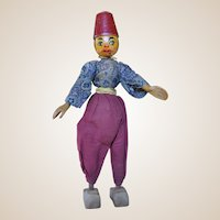 A rare Florig and Otto German wooden Turkish man doll, 1930s