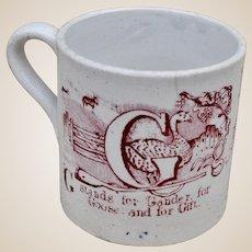 A mid 19th century pearlware alphabet nursery cup,