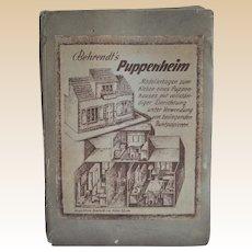 Unusual Behrendt's Puppenheim paper dolls' house construction folder, mid 20th century