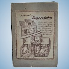 Unusual Behrendt's Puppenheim paper dolls' house construction folder, mid 20th century
