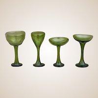 Four vintage dolls' house Venetian green glass wine glasses, 1920-30s