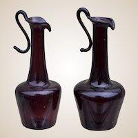 Vintage dolls' house Venetian glass pair of deep purple ewers, 1920-30s,
